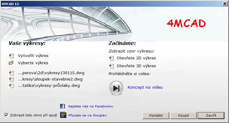Úvodní dialog ve 4MCAD IntelliCAD 12