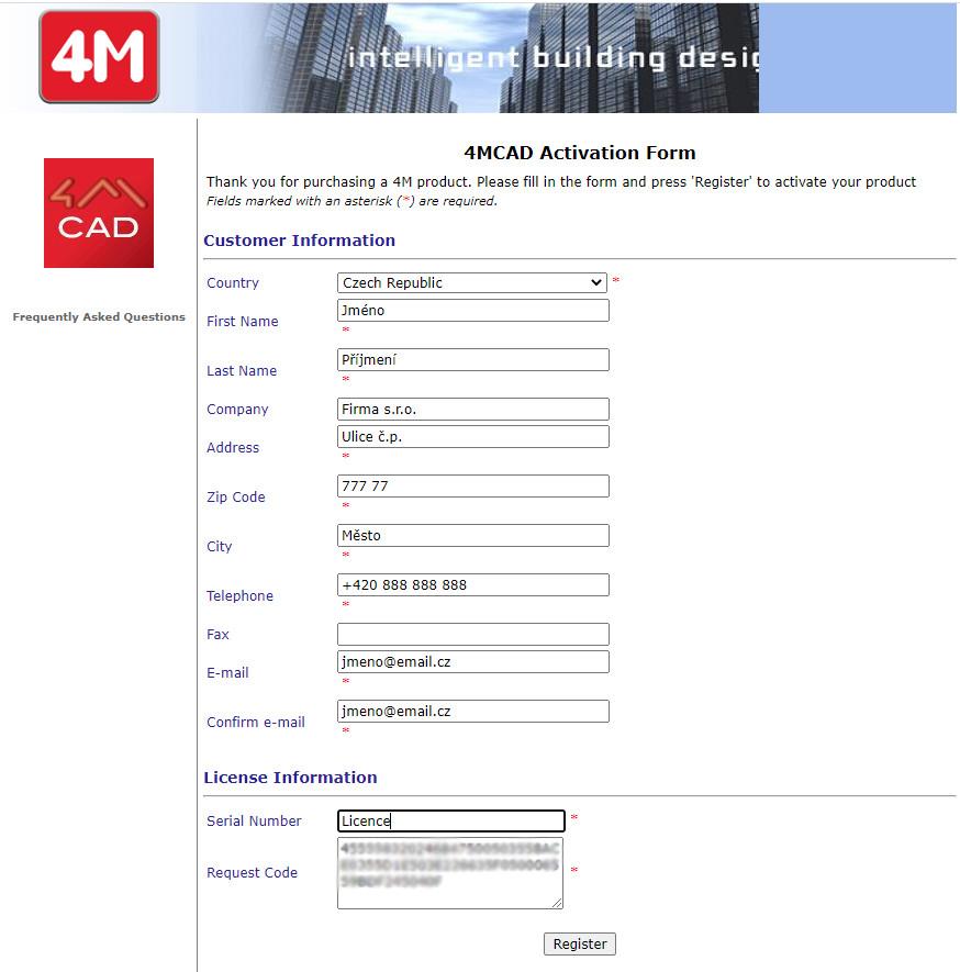 Aktivační formulář na internetové stránce výrobce