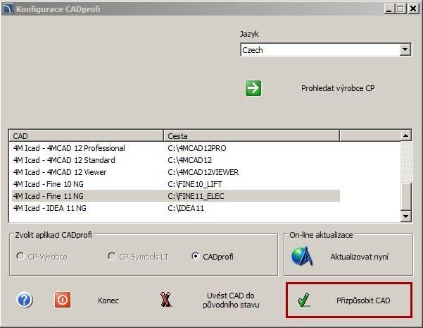 Konfigurace CADprofi