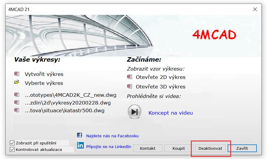 Deaktivace licence 4MCAD