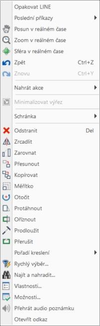 Kontextové menu - Entity