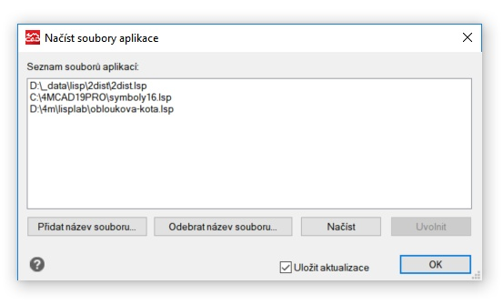 Načtení LISP nebo DCL aplikace