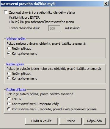 Nastavení pravého tlačítka ve 4MCAD IntelliCAD 12