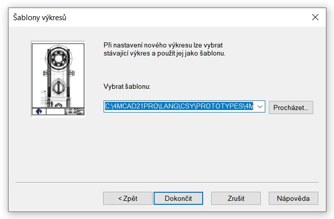 Volba šablony CAD výkresu