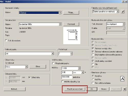 Použít pro rozvržení vdialogu tisku CAD výkresu